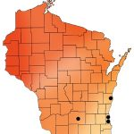 Red and orange map of Wisconsin showing the location of clinics providing abortion care.