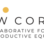 """Collaborative for Reproductive Equity logo- three dots in coral, grey, and yellow over the words """"UW CORE"""""""